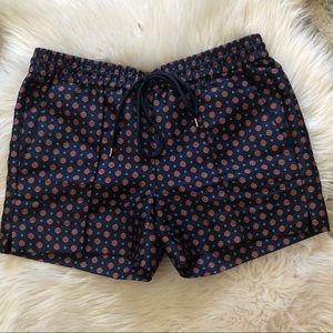 J. CREW navy and orange print tie waist shorts